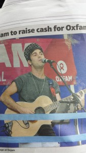 Playing for charity and in the newspaper for Oxjam